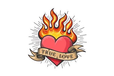 Burning Heart Old School Tattoo
