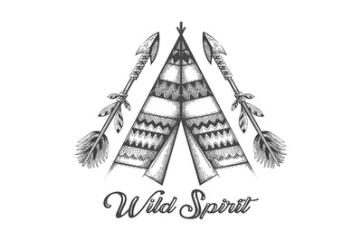 Hand Drawn Wigwam and Indian Arrows with lettering Wild Spirit Tattoo