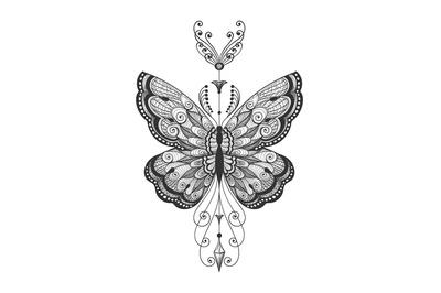 Hand Drawn Butterfly Tattoo