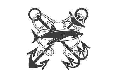 Emblem with Shark and Crossed Anchors in Ropes