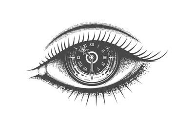 Clock face Inside Human Eye Hand Drawn Illustration
