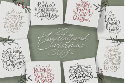 Handlettered Christmas quotes - SVG vectors