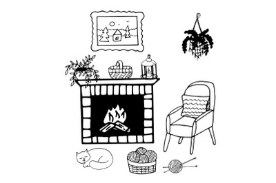 sweet home cozy hygge doodle room inrerior concept