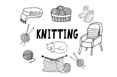 knitting hand drawn sketch set doodle