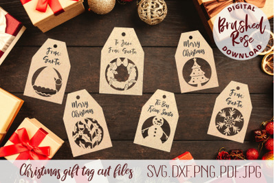 Christmas gift tags cut file svg