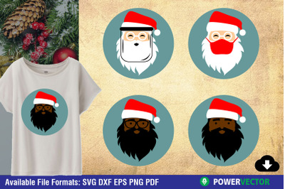 Santa Claus Face SVG | Christmas Clipart