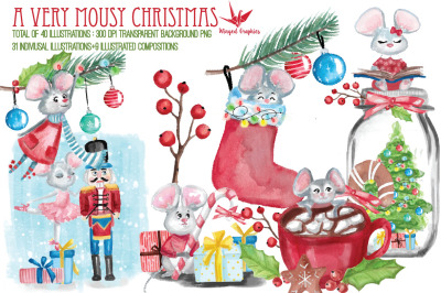 A very Mousy Christmas : watercolor illustration set of 40