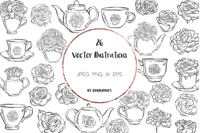 26 Hand drawn Tea cups, Teapots and Roses Vector Illustrations