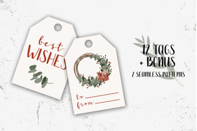 12 Christmas tags and Bonus. Merry Xmas and Happy New Year