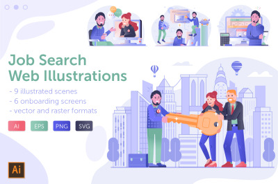 Job Search and Apply Web Illustrations