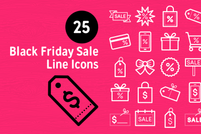 25 Black Friday Sale Line Icons