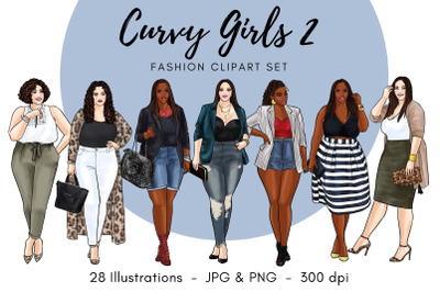 Curvy Girls 2 Fashion Illustration clipart - Light Skin & Dark Skin