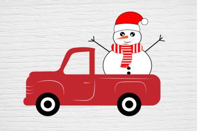Christmas svg, Snowman Red Trucksvg, Snowman Red Truck Cricut , Snowm