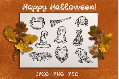 9 hand drawn Halloween elements