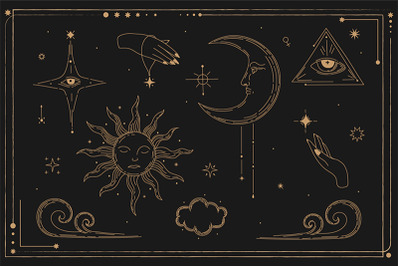 Occultism, magic, mythology, mysticism, set illustration. Celestial Il