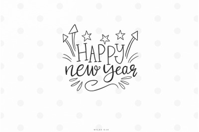 Handlettered Happy new year quote svg cut file