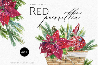Watercolor Christmas clip art  Red poinsettia winter clipart