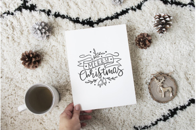 Handlettered Merry Christmas quote svg cut file