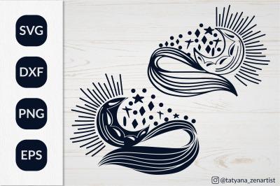 Crescent moon svg, Mystical Linear Moon SVG for kids design