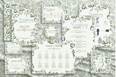 Green Wedding Invitation Cards. Vector