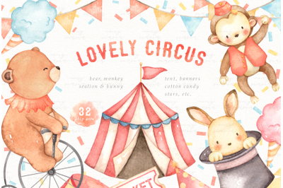 Lovely Circus Watercolor Clip Arts