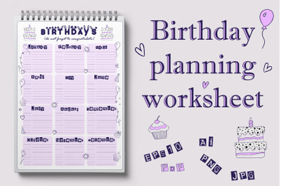 Birthday planning worksheet
