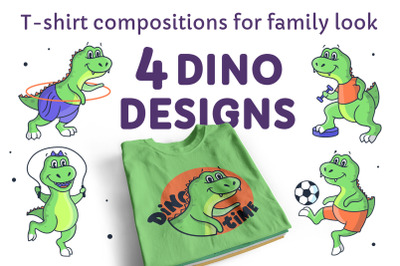 Set of sport dinos. T-shirt designs