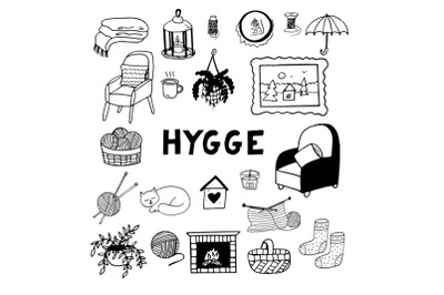 hygge cozy home set sketch hand drawn doodle