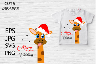 Cute giraffe Christmas card, t-shirt design