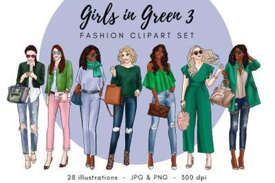 Girls in Green 3 Fashion Clipart Set - Light Skin & Dark Skin