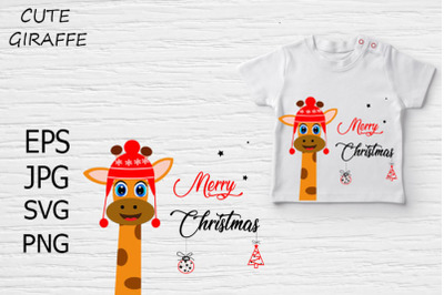 Cute giraffe Christmas card, t-shirt design.