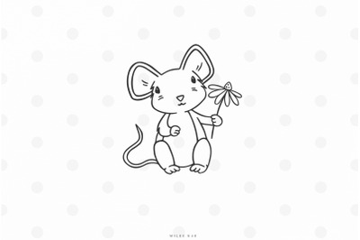 Cute mouse with flower svg cut file