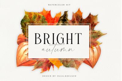 Autumn watercolor leaves clipart Pumpkin clipart  fall watercolor