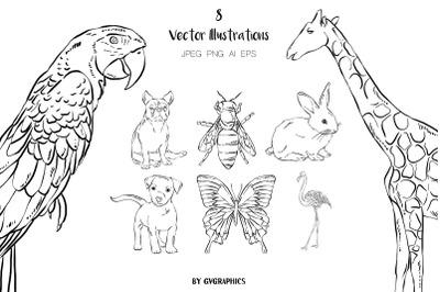 8 Hand Drawn Animals Vector Illustrations