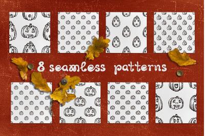 8 patterns with Jack-o-lanterns