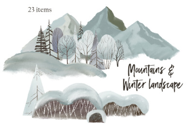 Mountains & Winter landscape clipart