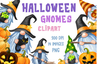 Halloween gnome clipart Watercolor gnomes sublimation bundle Witch png