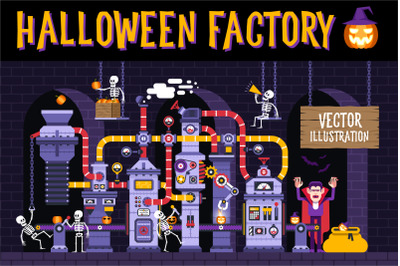 Halloween Factory Illustration