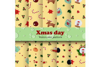 watercolor pattern of Christmas