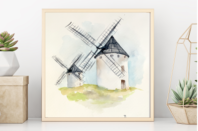 Watercolor Old Windmills - Clip Art and Print