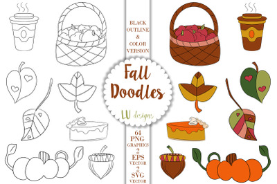 Fall Doodles Clipart, Autumn Doodles Graphics, Thanksgiving Clipart