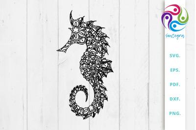 Gorgeous Zentangle Sea Horse SVG Cut File
