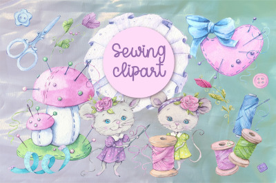 Sewing accessories and sewing mouse characters. Watercolor clipart for
