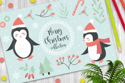 Cute penguin set clip-art