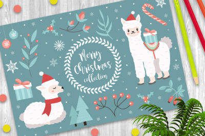 Cute llama merry christmas clipart