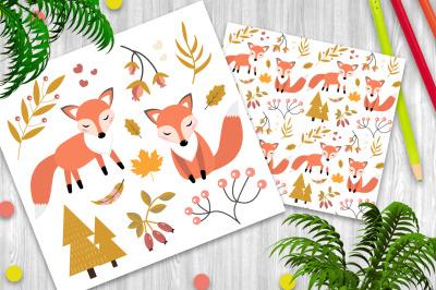 Cute fox christmas and autumn clipart set