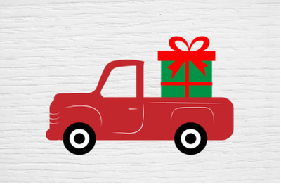 Christmas svg, Gift box and  Red Truck svg,