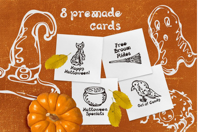 8 Halloween greeting cards