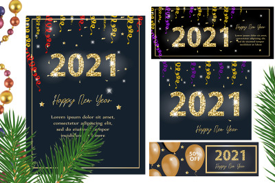 Happy new year 2021 set template