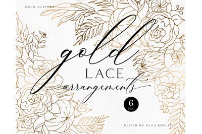 Rose gold wedding invitation clipart. Gold foil leaf  floral backgroun